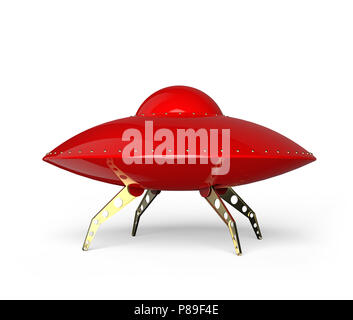 Flying saucer red isolated on white background. - Stock Photo