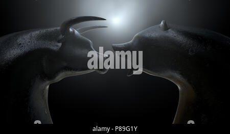 Two metal statuettes depicting a stylized bull and bear in dramatic light representing financial market trends on a dark studio background - 3D render - Stock Photo