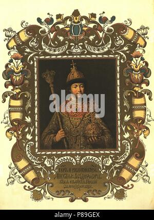 Portrait of the Tsar Michail I Fyodorovich of Russia (1596-1645). Museum: State History Museum, Moscow. - Stock Photo