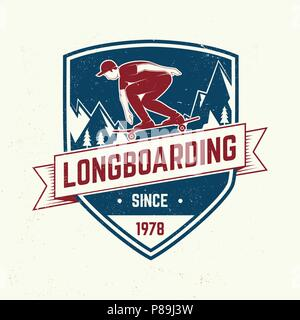 Downhill boarding club badge. Vector. Extreme sport. For skate club emblems, signs and t-shirt design. Skateboard typography design with skateboarder on the longboard and text. Extreme sport. - Stock Photo