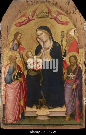 Madonna and Child with Saints John the Evangelist, John the Baptist, James of Compostela and Nicholas of Bari. Museum: National Gallery of Victoria, Melbourne. - Stock Photo