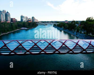 Peace Bridge View of River - Stock Photo