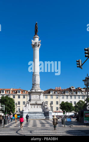Lisbon, Portugal. Column bearing statue of Dom Pedro IV (also crowned Pedro I, Emperor of Brazil) in Praca Dom Pedro IV, commonly known as Rossio. - Stock Photo