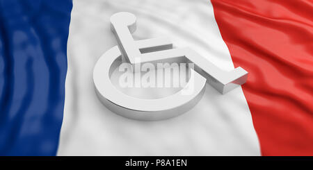 France and disability. Wheelchair, disabled sign isolated on French flag background. 3d illustration - Stock Photo