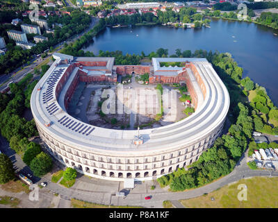 Former Nazi party rally grounds at the large Dutzendteich, unfinished congress hall of the NSDAP 1933-1945, with documentation - Stock Photo