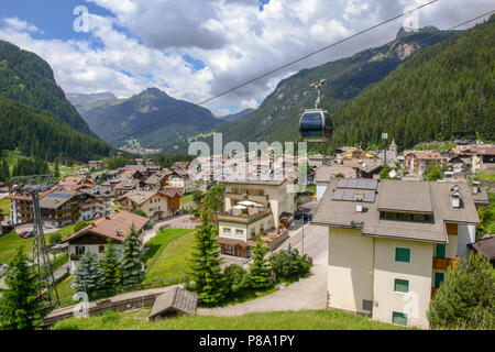 Canazei, Italy - 21 June 2018: Village of Canazei on Fassa valley in Trentino Alto Adige, Italy - Stock Photo