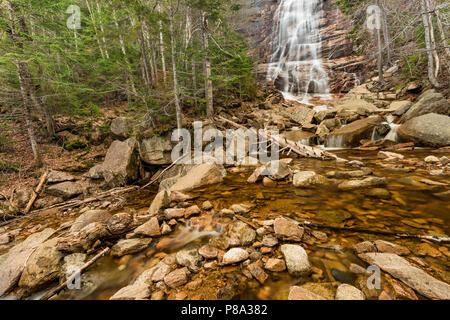 Arethusa Falls in spring, Crawford Notch State Park, Carroll Co., NH - Stock Photo