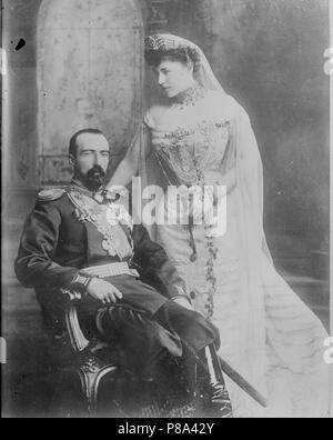 Grand Duke Michael Mikhailovich of Russia and his wife Countess Sophie de Torby. Museum: PRIVATE COLLECTION. - Stock Photo