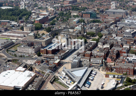 aerial view of Bolton town centre, Greater Manchester but formerly Lancashire - Stock Photo