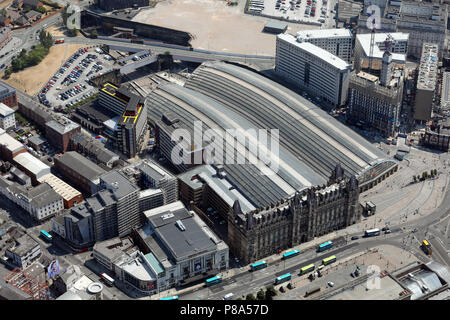 aerial view of Liverpool Lime Street stadium - Stock Photo