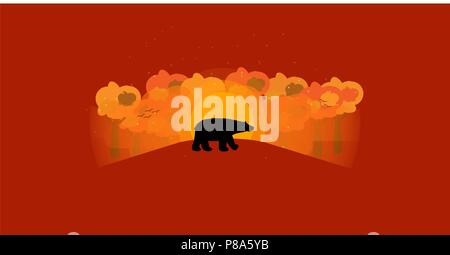 Hello autumn background with wild animal shape autumn colored trees and sunrise , vector , illustration - Stock Photo