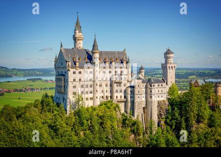 Aerial view of Neuschwanstein castle, Bavaria, Germany - Stock Photo