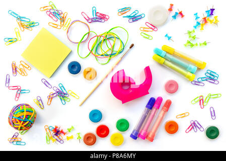 Background of colorful school supplies  isolated on white. Back to school concept - Stock Photo