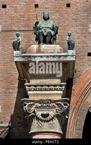 Borso d'Este, Duke of Ferra, at Palazzo Municipale Corso on  Martiri della Libertà and Ferrara Town Hall, Ferrara ( Emilia-Romagna ) , northern Italy, capital Province of Ferrara, Italian. - Stock Photo