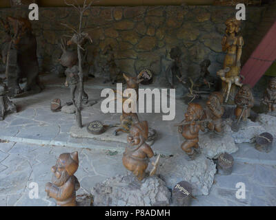 Figures of popular heroes of fairy tales. The fox and crow are Snow White and seven dwarfs are cipollino. . For your design - Stock Photo