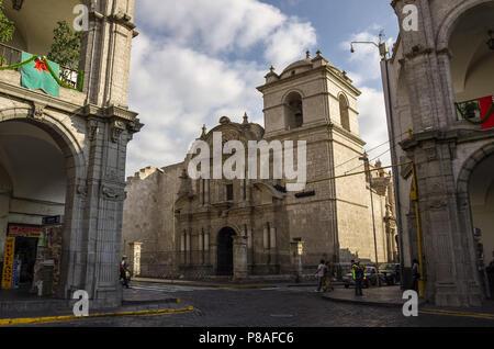 Arequipa, Peru - January 2, 2014: Plaza de Armas and Church of the Company in Arequipa, Peru - Stock Photo