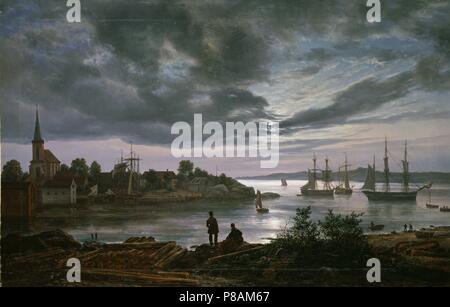 Larvik by Moonlight. Museum: National Museum of Art, Oslo. - Stock Photo