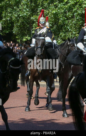 HM The Queen Elizabeth II joined by other members of the Royal Family travel along the Mall in an open top carriage during the Trooping the Colour which marks the 92nd celebration of The Queen's official birthday  Featuring: Atmosphere Where: London, United Kingdom When: 09 Jun 2018 Credit: Dinendra Haria/WENN - Stock Photo