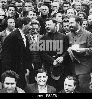 Stalin, Kalinin, Voroshilov and Kaganovich at the Sixteenth Congress of the CPSU. Museum: PRIVATE COLLECTION. - Stock Photo
