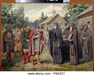 Grand Duke Dmitry Donskoy visiting Sergius of Radonezh before the Battle on the Snipes' Field on 1380. Museum: State Central Navy Museum, St. Petersburg. - Stock Photo