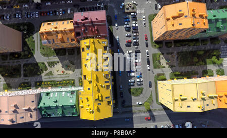 district of colorful houses in Kiev, aerial view - Stock Photo