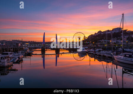 Torquay Harbour Sunset - Stock Photo