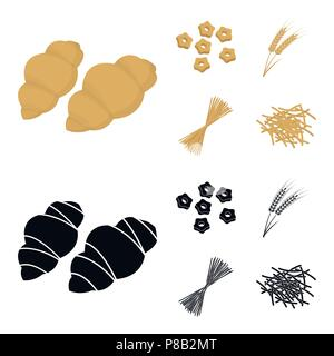 Different types of pasta. Types of pasta set collection icons in cartoon,black style vector symbol stock illustration . - Stock Photo