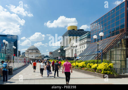 Looking from Paradise Circus towards Centenary Square and Baskerville House, the Hall of Memory and Library of Birmingham - Stock Photo