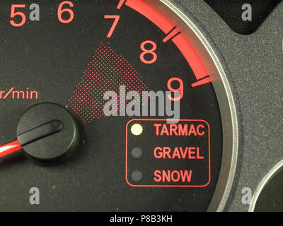 Mitsubishi Lancer Evolution 7 vii EVO - 2002 model showing close up of the driving mode selected and its options tarmac gravel snow - Stock Photo