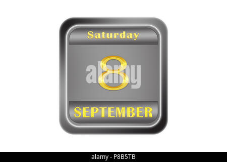 On a embossed metal plate, the gold date stamping is September 8, Saturday - Stock Photo