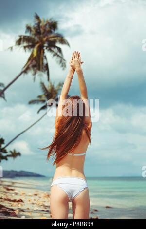 back view of woman in bikini standing on beach near ocean - Stock Photo