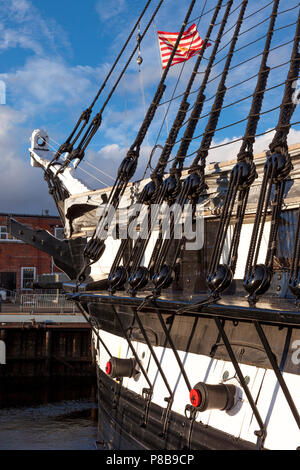 USS Constitution - Old Ironsides, Charlestown Navy Yard, Boston National Historic Park, Boston, Massachusetts, USA - Stock Photo