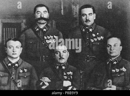 First 5 Marshals of USSR: Tukhachevsky, Budyonny, Voroshilov, Blyukher, Yegorov. Museum: State Central Military Museum, Moscow. - Stock Photo