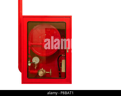 Fire water hoses and fire extinguisher equipment in red cabinet isolate on white background. - Stock Photo