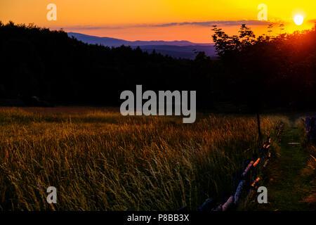 Blick zum Brocken im Sonnenuntergang - Stock Photo
