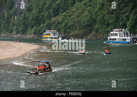 Rafts on the Li River in Guangxi Zhuang china, on the journey from Guilin to Yangshuo. - Stock Photo