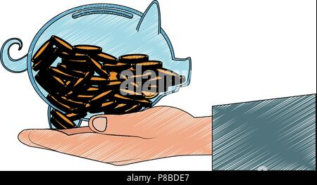 transparent piggy with coins scribble - Stock Photo
