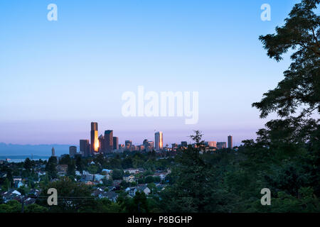 Central District Neighborhood and downtown at dawn, Seattle, Washington, USA - Stock Photo