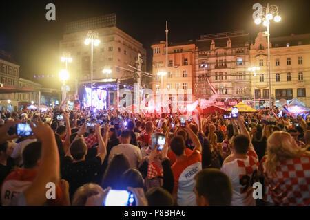 ZAGREB, CROATIA - JULY 7TH, 2018 : Croatian football fans celebrate second Croatian goal of football game quarter final of Croatia vs Russia on Fifa W - Stock Photo