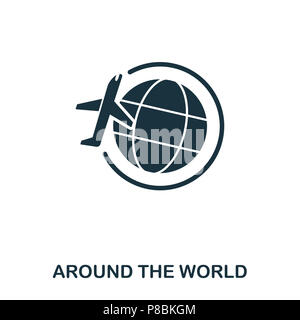 Around The World icon. Line style icon design. UI. Illustration of around the world icon. Pictogram isolated on white. Ready to use in web design, app - Stock Photo