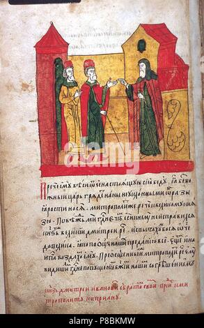 Grand Duke Dimitri Donskoy and his brother visiting Cyprian, Metropolitan of Moscow (from the Tale of the Rout of Mamai). Museum: State History Museum, Moscow. - Stock Photo