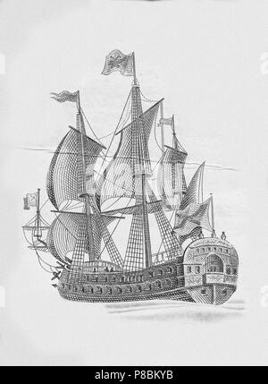 Russian ship of the line Poltava (1712). Museum: Russian State Library, Moscow. - Stock Photo