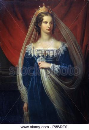 Portrait of Princess Charlotte of Prussia (1798-1860). Museum: State Open-air Museum Palace Gatchina, St. Petersburg. - Stock Photo
