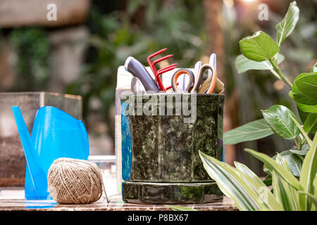 A lot of garden accessories on the table in greenhouse - Stock Photo