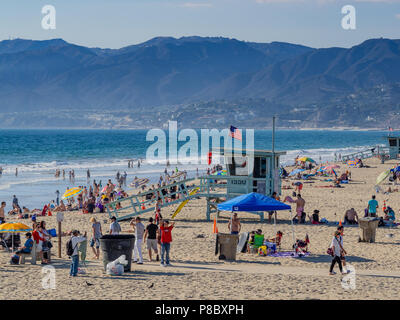 View of people on Santa Monica Beach from the Santa Monica Pier, California, USA. - Stock Photo