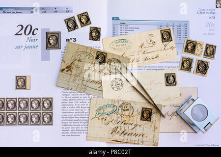 1849-1850 French postal history letters, stamps and specialised catalogue handbook - 20c Cérès was the first French postage stamp. - Stock Photo