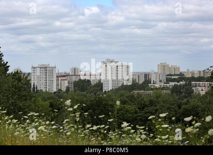 Berlin, Germany, prefabricated housing estate in Berlin-Marzahn - Stock Photo