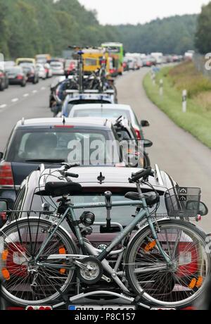 Neuruppin, Germany, traffic jam on the A24 heading north - Stock Photo