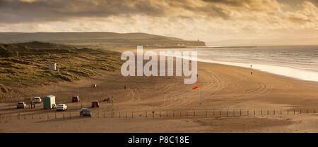 UK, Northern Ireland, Co Londonderry, Portstewart strand at sunset, panoramic - Stock Photo