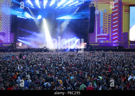 Hoppegarten, Germany, Crowd at Lollapalooza Berlin 2017 at the racecourse Hoppegarten - Stock Photo